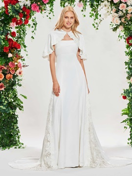 Strapless Beaded Appliques Wedding Dress with Shawl