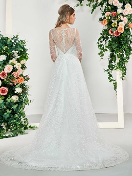 A-Line Button V-Neck Half Sleeves Wedding Dress