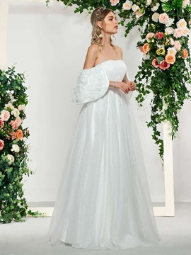 Off-The-Shoulder Flowers Beading Wedding Dress