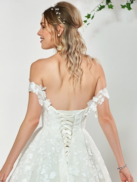 Off the Shoulder Ball Gown Lace Wedding Dress 2019