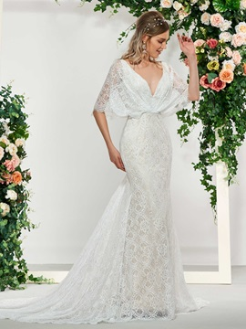 Lace Mermaid Wedding Dress with Half Sleeves