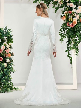 Lace Split-Front Trumpet Wedding Dress with Long Sleeve