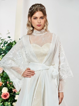 Long Sleeve High Neck Lace Wedding Dress with Cloak