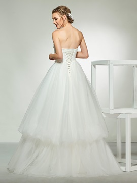 Strapless Tiered Appliques Wedding Dress 2019