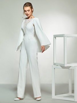 Long Sleeves Lace Button Wedding Jumpsuits 2019