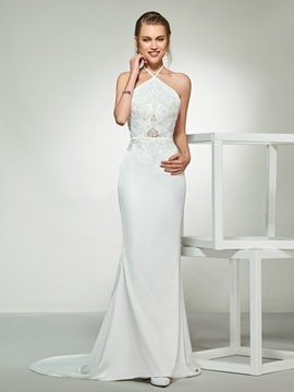 Halter Mermaid Appliques Beading Wedding Dress 2019