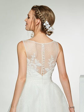 Straps Appliques Button Wedding Dress 2019