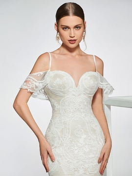 Spaghetti Straps Lace Open Shoulder Wedding Dress 2019