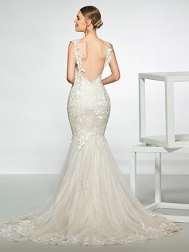 Straps Appliques Mermaid Wedding Dress 2019