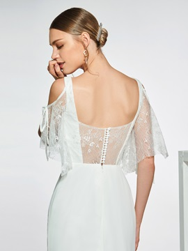 Cold Shoulder Mermaid Button Lace Wedding Dress 2019