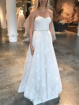 A-Line Sweetheart Beading Appliques Wedding Dress 2019