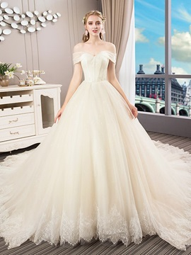Floor-Length A-Line Off-The-Shoulder Short Sleeves Church Wedding Dress 2019