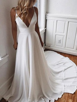 Spaghetti Straps A-Line Beading Garden Wedding Dress 2019