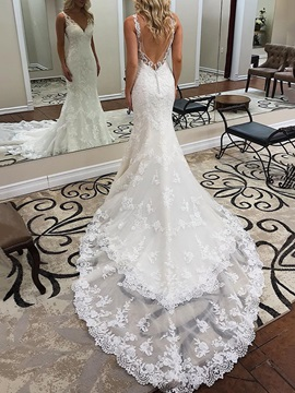Backless Trumpet Button Lace Wedding Dress 2019