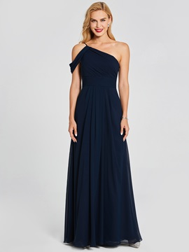 One Shoulder Pleats A-Line Long Bridesmaid Dress