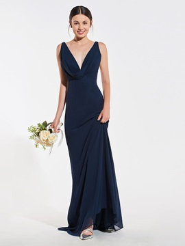 Simple Straps Draped Long Bridesmaid Dress
