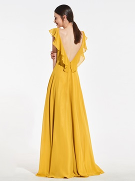e79462809eb Deep V-Back Ruffles Sleeves Bridesmaid Dress   Tidebuy.com