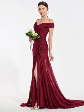 Off the Shoulder Split-Front Lace Bridesmaid Dress
