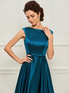 Lace Capped Sleeve A-Line Mother of the Bride Dress