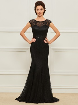 Beaded Sequins Sheath Lace Mother Dress