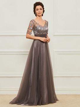 Short Sleeves Sequins Appliques Mother of the Bride Dress