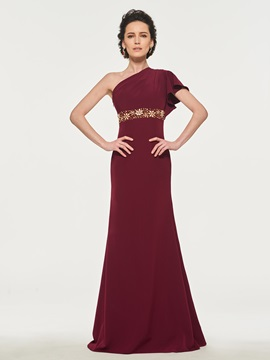 One Shoulder Beading Mother of the Bride Dress