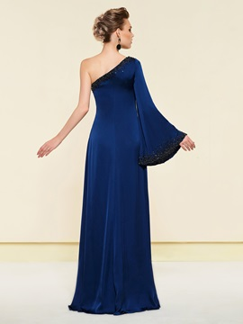 Beading One Shoulder Mother of the Bride Dress