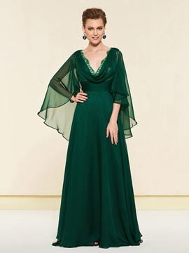 Lace Edge Draped Mother of the Bride Dress