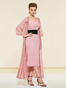 Strapless Tea-Length Column Mother Dress with Lace Jacket