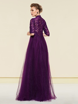 Half Sleeves Lace High Neck Mother of the Bride Dress