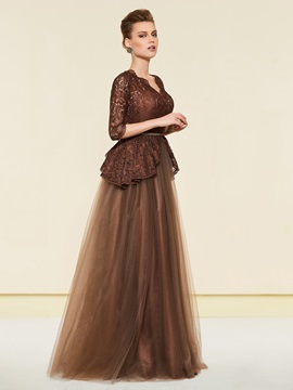 Half Sleeves Beading Belt Lace Mother of the Bride Dress