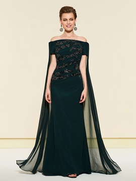 Appliques Watteau Train Off-The-Shoulder Mother of the Bride Dress
