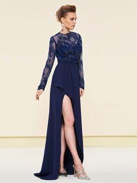 Straps Split-Front Mother Dress with Lace Jacket