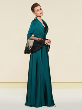 Lace V-Neck Mother of the Bride Dress with Long Sleeve