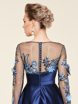 Appliques Sequins Long Sleeves Mother of the Bride Dress