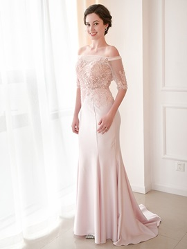 Half Sleeves Floor-Length Off-The-Shoulder Sweep Wedding Party Dress 2019