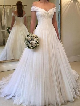 A-Line Off the Shoulder Pleats Wedding Dress 2019