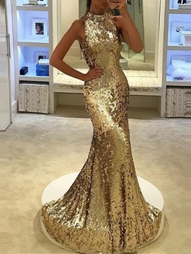 High Neck Mermaid Sequins Evening Dress 2019