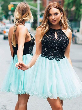 A-Line Halter Beading Lace Homecoming Dress 2019