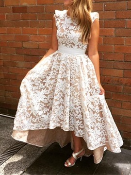 Beautiful High Low Low Back Lace Bridesmaid Dress