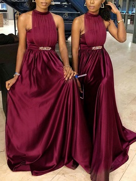 A-Line Halter Ruched Beading Bridesmaid Dress