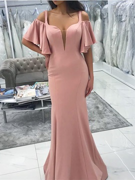 Hollow Straps Trumpet/Mermaid Sweep Wedding Party Dress 2019