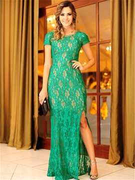 Beaded Jewel Neck Sheath Lace Mother of the Bride Dress