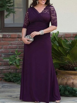 Half Sleeves Pleats Sheath Lace Mother of the Bride Dress
