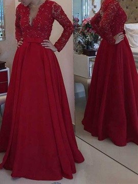 Long Sleeves Beading Lace Mother of the Bride Dress