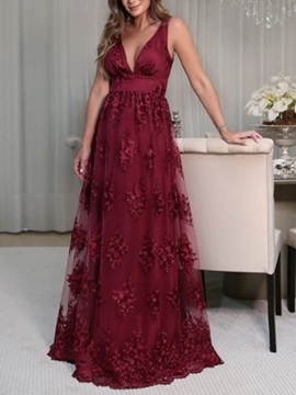 V-Neck Appliques Lace Mother of the Bride Dress 2019