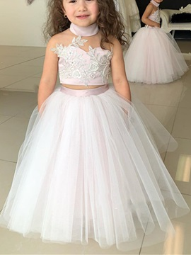 Two Pieces Appliques High Neck Ball Gown Flower Girl Dress