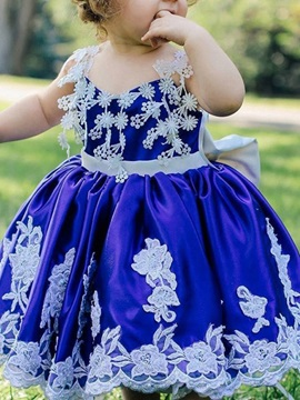 Ball Gown Tea-Length Spaghetti Straps Lace Flower Girl Dress 2019