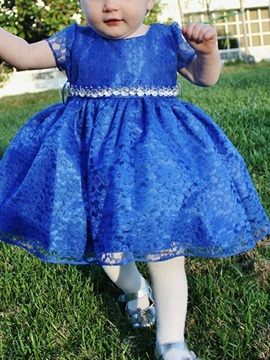 Beading Short Sleeves Lace Knee-Length Flower Girl Dress 2019