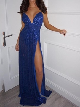 Sequins Spaghetti Straps A-Line Floor-Length Evening Dress